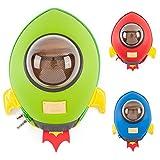 Mochilas Rocket CKB Ltd® de jardín de infantes, guardería y escuela para niños y bebés | Mochila colorida y divertida para niñas y niños | Diseño de nave espacial 3D prémium | Duradera | Impermeable | Para todas las edades con correas acolchadas ajustables GREEN ROCKET