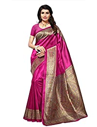 Fabwomen Sarees Kalamkari Printed Multi Coloured Art Silk Fashion Party Wear Women's Saree/Sarii With Blouse Piiece