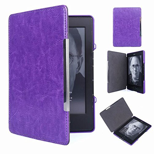 Meijunter Purple Hard Cuero Protector Faltriquera Cáscara Caso Estuche Cubrir Cubierta Case Cover por Kindle 4 5 4th 5th