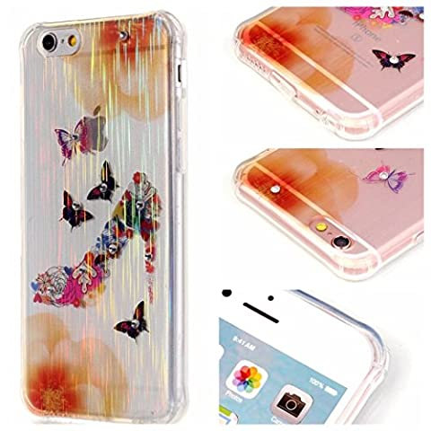 LaiXin iphone 6/6s Detachable Case Protection cover TPU Lid Transparent shell Stereo Diamonds Sparkle Glitter scratch-resisitant dust-resistant Back Cover-flower butterfly shoes with high heels