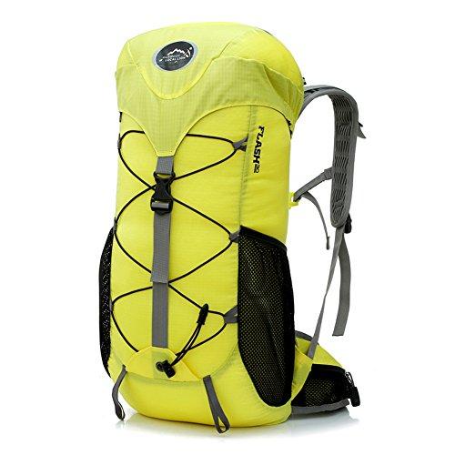 Diamond Candy Zaino da Trekking Outdoor Donna e Uomo con Protezione Impermeabile per alpinismo arrampicata equitazione ad Alta Capacit¨¤ borsa da viaggio,Multifunzione, 35 litri Nero Giallo