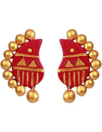 Terramart_ Handmade Terracotta Earring Set Jewellery For Women / Girls ( Red & Gold )