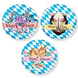 Polarkind gr. 3er Set Button Oktoberfest Wiesn Queen King Princess Anstecker 59mm Handmade Brosche Schmuck Accessoire
