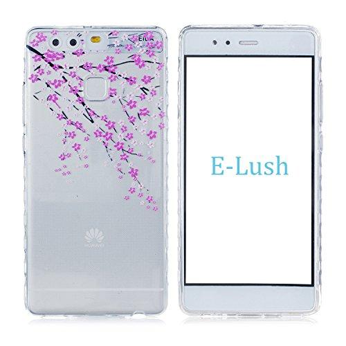 Huawei P9 Hülle, E-Lush TPU Soft Silikon Tasche Transparent Schale Clear Klar Hanytasche für Huawei P9 Durchsichtig Rückschale Ultra Slim Thin Dünne Schutzhülle Weiche Flexibel Handyhülle Kratzfeste S Blume