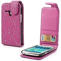 Handytasche Business Case Cover Bumper Samsung i8190 Galaxy S3 mini Smartphone Etui Flip Glitzer shiny chic Fashion Blink Strass rosa deep pink Glitter