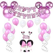 Decoraciones de cumpleaños de Minnie Mouse para niñas Suministros para la fiesta Minnie rosa con globos