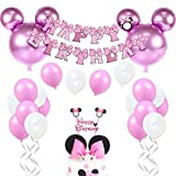 JOYMEMO Decorazioni di Compleanno Minnie per Bambine Forniture per Minnie Rosa con Palloncini Minnie Mouse, Happy Birthday Ghirlanda e Cake Topper