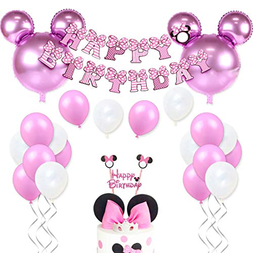 JOYMEMO Minnie Mouse Geburtstag Dekorationen für Mädchen Rosa Minnie Party Supplies mit Minnie Mouse Kopf Ballons, Happy Birthday Garland und Cake Topper