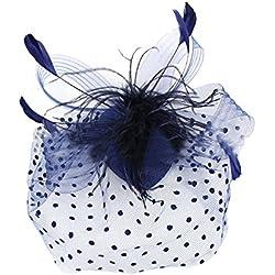 joyvany malla tocado de plumas de lazo lunares velo para el pelo boda para gorro de invierno