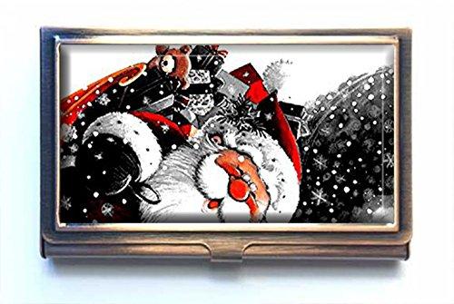 amsun Santa Claus Custom Edelstahl Bronze Visitenkartenhalter Name Kreditkarte ID Brieftasche -