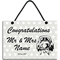 Congratulations Mr & Mrs PERSONALISED Handmade Wooden Wedding Gift Home Sign/Plaque 620