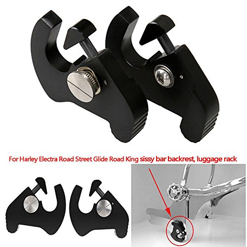 triclicks Moto Noir amovible Rouge ierend Sissy Bar Dossier Armature d'accueil Latch Clips Kit Porte-bagages verrouillage Mount pour Harley Electra Road Street Glide Road King Softail