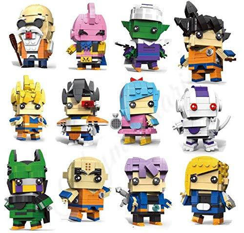 CuteDoll Lote 12 Figura de Dragonball Dragon Ball Puzzle Juego Bloques de construccion tamaño 9 cm DIY Mini Building Puzzle Juguete niños colección
