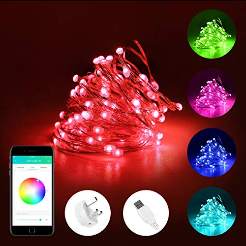 Ilux 5m smart copper string lights, bluetooth & app control led fairy lights, rgb multicolored, usb powered, voice/music sync, ip65 waterproof decorative lights for outdoor, party, garden and more