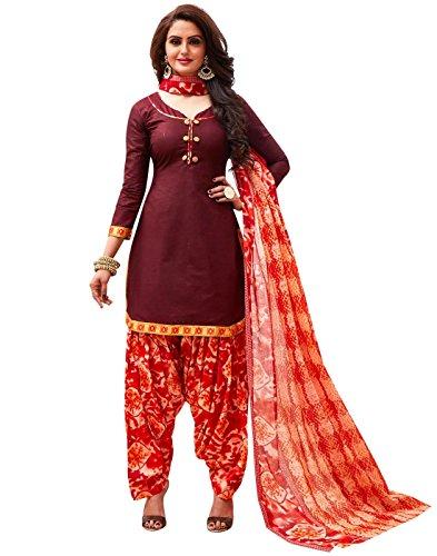 Jevi Prints Women's Unstitched Cotton Maroon & Red Geometric Patiyala Punjabi Suit...