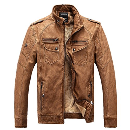 ZKOO Hombre Vellón Forrado Chaqueta De Cuero De Imitación Corta Moto Jacket Cazadora Abrigo Ajustado Caliente Otoño e Invierno Marrón