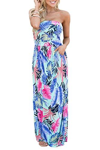 YMING Damen Sommer Kleid Casual Trägerlos Maxikleid Blumenkleid Maxi Langes Kleid,Blau,Tropische Blätter,S/DE 36-38 (Damen Blatt)