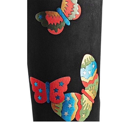 Qpyc Femmes Bottes À Talons Bas Imprimé Papillon Sur Les Bottes Au Genou Élastiques Zip Retour Automne Et Hiver Bout Pointu Grandes Bottes Femme Noir Simple