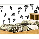Toy Soldiers - Black Camo Print - Pack of 18 - Repositionable Wall Art Vinyl Printed Stickers