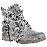 Damen Schuhe Biker Boots Strass Cut Outs Stiefeletten Leder-Optik Schuhe 157624 Grau Amares 36 Flandell