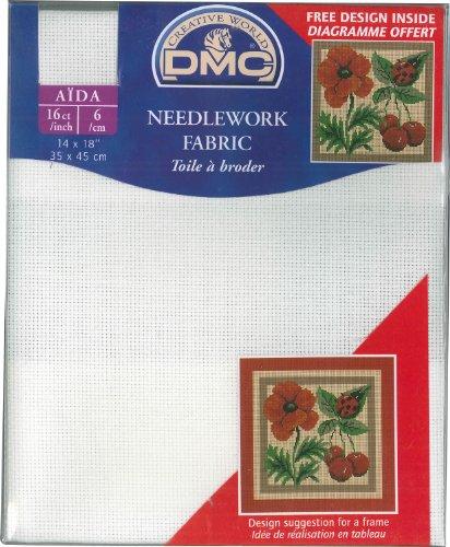 "dmc aida zählstoff 16CT/inch-6,4draden Pro centimeter 14x 18\""-35x45cm-Kleur: 712-warmwit-Warm/White"