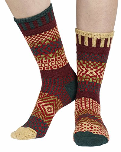Solmate Socks - Odd or Mismatched Crew Socks for Women or for Men, Made with Recycled Cotton Yarns in USA, Maple Leaf Medium