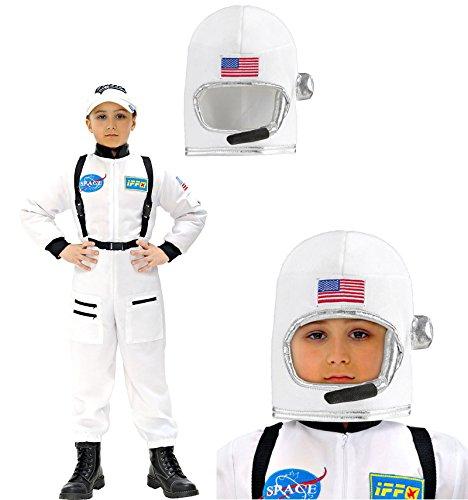Mega_Jumble® Mission To Mars Astronaut Boys White Jumpsuit, Helmet 2 Piece Kit Moon Mission Astronaut Fancy Dress Up Party Boys Space Man Suit NASA Uniform Kid Childs Costume Outfit