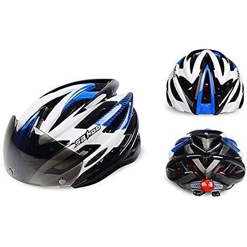 Bici Adulti casco da biciclettas con montaggio della visiera removibile occhiali per Miope donne e uomini Protezione Sicurezza Bicicletta Road & Mountain Bettertol