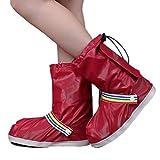 Eagsouni pioggia copriscarpe impermeabile moto bici riutilizzabile pieghevole pioggia neve copriscarpe antiscivolo per donne ragazze bambini, Wine Red, XL