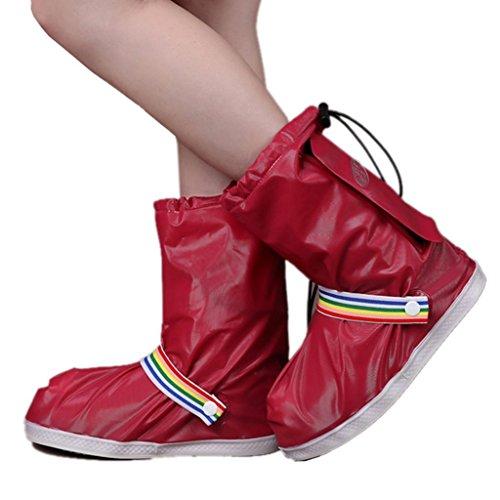 Eagsouni® Regenüberschuhe Wasserdicht Schuhe Abdeckung Stiefel Flache Regen Überschuhe Regenkombi Motorrad Fahrrad Schuhüberzieher Rutschfestem für Damen Mädchen Herren Jungen (Damen Überschuhe)