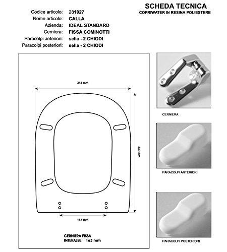 Copriwater Ideal Standard CALLA BIANCO I.S. Cerniera Cromo-Sedile-Asse Wc