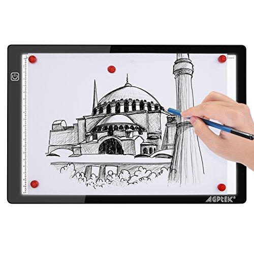 Magnetisches LED Zeichenpad für Künstler A4 Größe Leuchttisch 35,7cm/14inch x 23,5cm/10,15inch Ultradünn nur 5mm, Stufenlose Helligkeitssteuerung mit Speicherfunktion, USB-betriebenes Tattoo-Pad für Animation, Skizzen, Design, Zeichnen, Röntgenbilder 6000k weiß