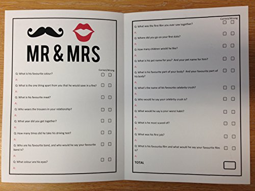 Mr & Mrs Wedding Hen Night Party Games - Drinking Game