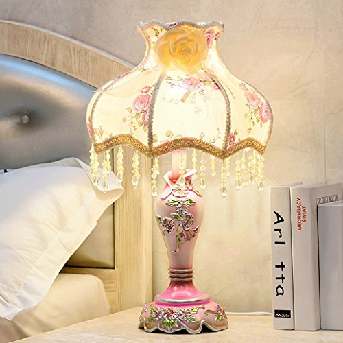 Europäische kreative Schreibtischlampe, Harz Lampenkörper, handgeschnitzt, LED dimmbar, Kristall Anhänger, warme Schlafzimmer Nachttisch handbestickten Stoff Schatten Tischlampe (Farbe : G) -