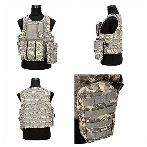 Tactical Weste MOLLE Combat Weste militärischen Ausbildung 4. Anzug für Paintball Spiel CS Bereich Ausbildung spezielle Taktik Gruppen Airsoft Camouflage Wasserdicht greasto M ACU (Anzüge Air Kostüme)