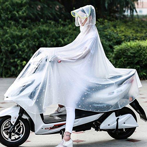 LT Riding Transparent Poncho Bike Electric Raincoat Single Detachable Double Cap