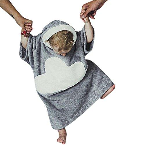 Amlaiworld Mädchen Jungen winter locker Plüsch Pyjamas Kleinkind flauschig warm Wolken Nachtwäsche mit Kapuzen,0-4 Jahren (Grau, 2 Jahren) (Flanell Spieler)