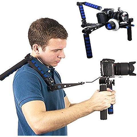 Coolway® Aluminio plegable DSLR Rig kit Movie Shoulder Rig Mount Aluminio Soporte Pad para vídeo videocámara DV cámaras Canon 5d, 7d, 60d, 550d, 600d, Nikon D90D7000D5100D3100D300s, Sony A65A55, A33, A580, A560, Panasonic GH1, GH2, GH3Pentax Olympus Sony Fuji