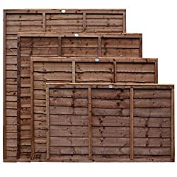 Weatherwell Lap Wooden Fence Panels 3ft, 4ft, 5ft, 6ft Horizontal Dip Treated (6ft x 6ft)