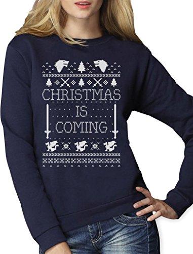 - Weihnachtspullover Damen für GOT Fans Frauen Sweatshirt Medium Marineblau (Ugly Christmas Sweater Ideen)