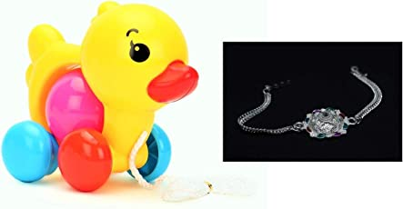 Rakhi Exclusive Gift Packs for Small Kids-Pull Along Hen Rattle Baby Toy with Baby Rakhi