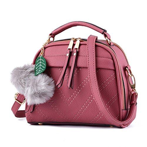 Damen Neue Einfarbige Farbe Handtasche Messenger Bag Mehrzweck- Dual-Use-Paket Doppel-Reißverschluss Große Kapazität Pu Tragen Wasserdicht Schultertasche Rubberpowder