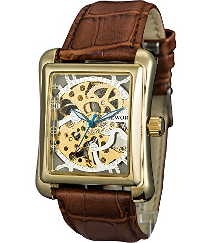 Sewor Men's Mechanical Hand-Wind Hollow Wrist Watch with Fasion Design (White)