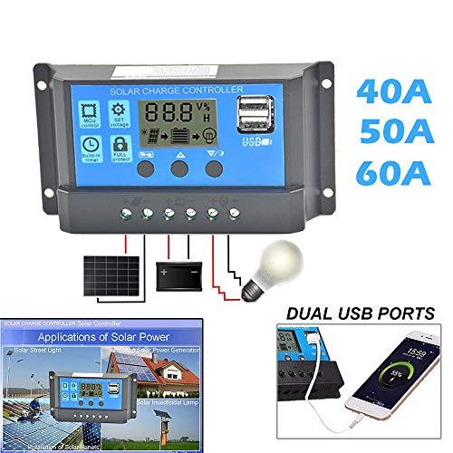 Artistic9 Solarregler Laderegler USB 40A / 50A / 60A 12V-24V Mit Zwei USB-Anschlüssen - 50a Anschlüsse