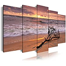 DEKOARTE 144 - Cuadro moderno en lienzo de 5 piezas, naturaleza playa con rama en orilla, 150x80cm