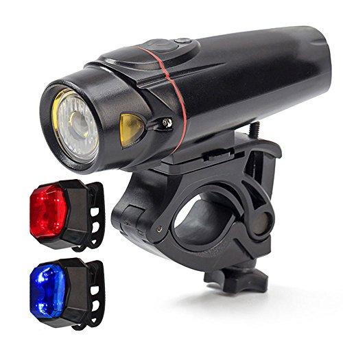 wittorch Bike Lights Set Smart Sensoren LED Fahrrad Licht Wasserdicht USB wiederaufladbar vorne Leichte Akku Rücklicht (rot blau), Radfahren Taschenlampe Lights Sets (2.200mAh-Lithium-Akku, 4Licht-Modus Optionen)