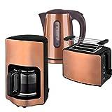 Team-Kalorik-Group Frühstücksset JK 1200 + TO 1200 + CM 1210 Wasserkocher, Toaster und Kaffeemaschine Havanne kupfer-braun