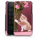 DeinDesign Coque Compatible avec Apple iPhone 3Gs Étui Housse Kitten Bébé Chat Roses