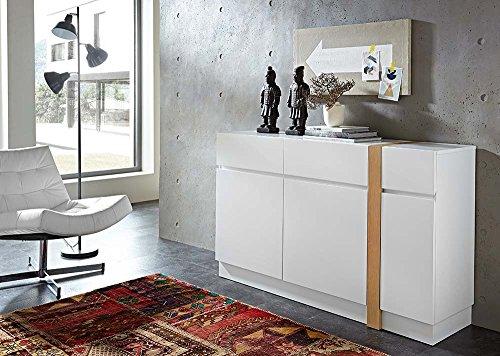 Sideboard in matt-weiß mit vertikalen Absetzungen in Eiche-NB, 2 Schubkästen, 3 Türen und 4 Einlegeböden, Maße: B/H/T ca. 145/87/40 cm