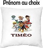 GRAVOPHOTO - Housse de Coussin Enfant personnalisée Pat Patrouille prénom au Choix